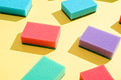 Multi-colored rectangular sponges for washing dishes
