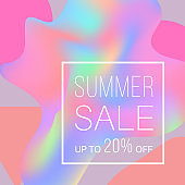 Promotional poster with text Summer Sale on holographic background