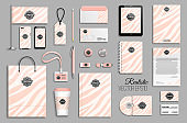 Corporate identity template set with pink zebra stripes abstract background