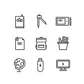 back to school lineal icon set