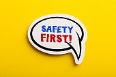 Safety First Concept Speech Bubble Isolated On Yellow