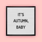 Its autumn baby quote on letterboard with plastic letters
