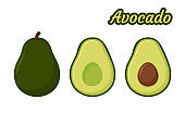Avocado Vector. Healthy fruit avocado That was cut in half until the seed could be seen inside.