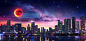 Fantasy Landscape Of Miami Downtown With Milky Way And Red Moon - Contain Illustration