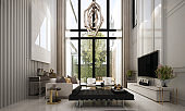 3D rendering interior design of luxury living room and garden view background