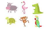 Cute African Animals Set, Turtle, Monkey, Parrot, Hippo, Flamingo, Crocodile Vector Illustration