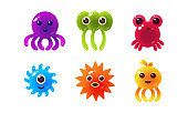 Sea creatures, collection of cute marine colorful bright glossy animal characters vector Illustration