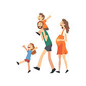 Smiling Pregnant Mother, Father and Kids, Happy Family with Children Walking Cartoon Vector Illustration