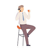 Male office worker talking on the phone. Vector illustration