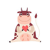 Cute Smiling Cow Sitting and Holding Red Heart, Funny Farm Animal Cartoon Character Vector Illustration