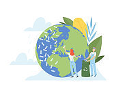 People Cleaning the Earth Planet and Ocean From Plastic Waste, Volunteers Taking Care About Planet Ecology, Environment, Nature Protection Flat Vector Illustration