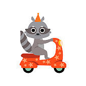 Raccoon Riding on Motorbike, Cute Funny Animal Performing in Circus Show Vector Illustration