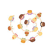 Cute Kids Dancing in Circle Holding Hands, Preschool Boys and Girls Playing Together, Top View Cartoon Vector Illustration
