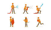 Young Firefighter Wearing Uniform Performing His Duties and Saving People Vector Illustrations