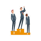 Successful Businessman Standing on Pedestal with Winner Cup, Team Leader Competition, Leadership and Teamwork Vector Illustration