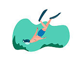 Male Diver with Scuba and Flippers Diving in Sea, Man Doing Sports and Relaxing on Beach, Summer Outdoors Activities Vector Illustration