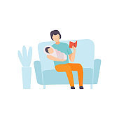 Father Reading Bedtime Story to His Baby, Parent Taking Care of His Child Vector Illustration
