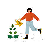 Girl Watering Plant with Watering Can, Young Woman Working in Garden or Farm Vector Illustration