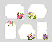 Flower Frames Card Templates with Blooming Flowers Set, Elegant Floral Design Element Can Be Used for Banners, Posters, Wedding Invitations, Greeting Cards Vector Illustration