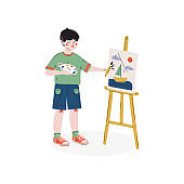 Boy Painting Picture on Easel, Hobby, Education, Creative Child Development Vector Illustration