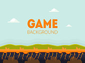 Game Background Banner Template with Natural Landscape, Mobile or Computer Game User Interface Element Vector Illustration