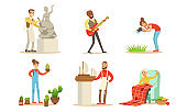 People of Creative Professions and Hobbies Set, Making Model of Sail Boat, Knitting, Planting Succulents, Playing Guitar, Photographing Vector Illustration
