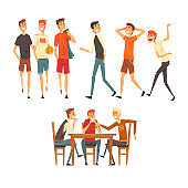 Male friends spending time together, guys playing football, sitting in a cafe, talking, best friends concept vector Illustration