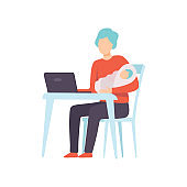 Father Holding Newborn Baby on His Hands and Working on Laptop Computer, Parent Taking Care of His Child Vector Illustration