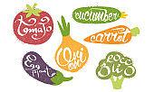 Fresh Vegetables Prints Set, Tomato, Cucumber, Carrot, Eggplant, Onion, Broccoli Grunge Style Vector Illustration
