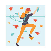 Young Woman Scaling Wall, Woman Climbing in Adventure Park, Hobby, Extreme Sports Vector Illustration