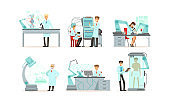 Scientists Working in Laboratory with Robots Vector Illustrations Set. Artificial Intelligence Concept