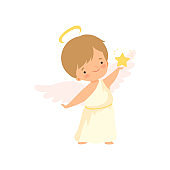 Cute Boy Angel with Nimbus and Wings Holding Golden Star, Lovely Baby Cartoon Character in Cupid or Cherub Costume Vector Illustration