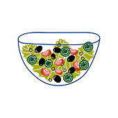 Delicious Vegetarian Salad with Lettuce, Tomatoes, Cucmbers and Olives in Glass Transparent Bowl, Fresh Healthy Dish Vector Illustration