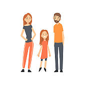 Smiling Mother, Father and Daughter, Happy Family with Child Cartoon Vector Illustration