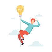 Man Flying Light Bulb Searching for Creative Ideas, Brainstorming, Innovation, Creative Thinking Vector Illustration