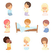 Collection of Cute Little Children Characters Kneeling and Praying Cartoon Vector Illustration