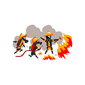 Firemen extinguishing fire with firefighting equipment, firefighter characters in uniform vector Illustration on a white background
