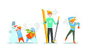 People performing winter activities, warmly dressed people skiing, playing snowballs, making snowman vector Illustration
