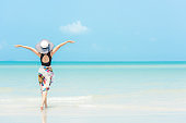 Summer Holiday. Lifestyle woman chill holding big white hat and wearing bikini fashion summer trips walking on the sandy ocean beach.