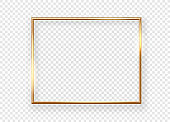 Realistic shining metal picture frame on a wall. Vector illustration Isolated on transparent background