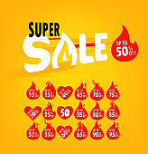 Super sale offer and different labels set. Shopping banner template
