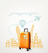 Around the world concept with travel bag