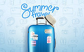 Summer travel vector concept. Composition with travel bag and lettering logo