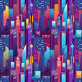 City landscape seamless pattern. Modern downtown with color skyscrapers