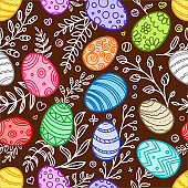 Easter seamless background. Vector festive elements