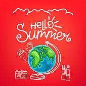 Hello summer concept. Summer travel vector illustration