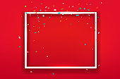 Blank square frame on red background. Vector layout for any text