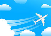 Air travel vector illustration. Modern aircraft in a sky with clouds