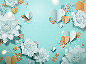 Elegant paper flowers and heart