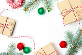 Gifts, Christmas tree branches, holiday elements